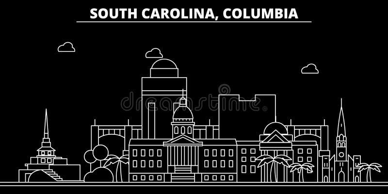 Columbia konturhorisont USA - Columbia vektorstad, amerikansk linjär arkitektur, byggnader Columbia lopp royaltyfri illustrationer