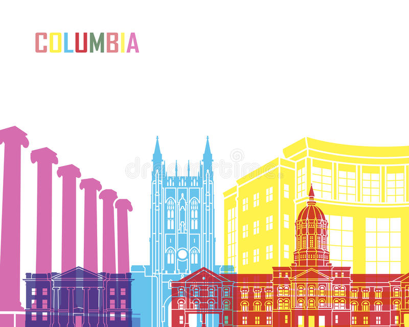 Columbia MO skyline pop. In editable vector file stock illustration