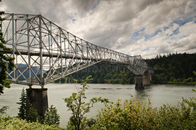 Columbia river and bridge of gods. Columbia river between Oregon state and Washington state royalty free stock photo