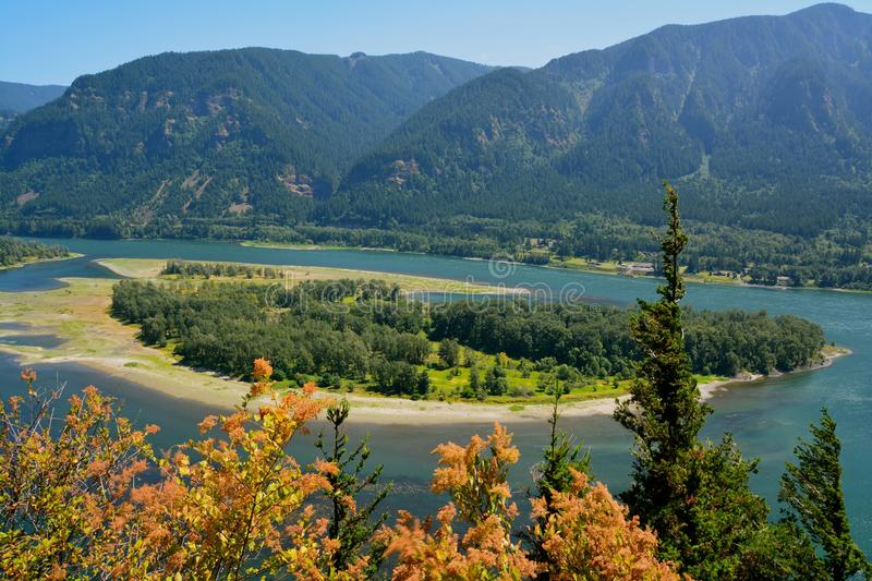 COLUMBIA RIVER GORGE. A beautiful, island view while hiking along the Columbia river gorge royalty free stock image