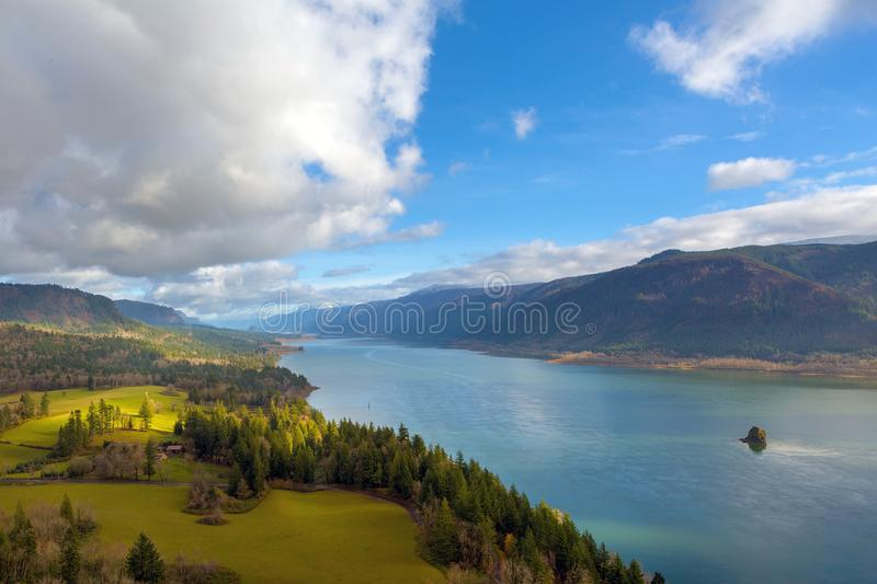 Columbia River Gorge by Cape Horn in Washington State USA. Columbia River Gorge from Cape Horn viewpoint in Washington State on a cloudy blue sky day USA America stock photo