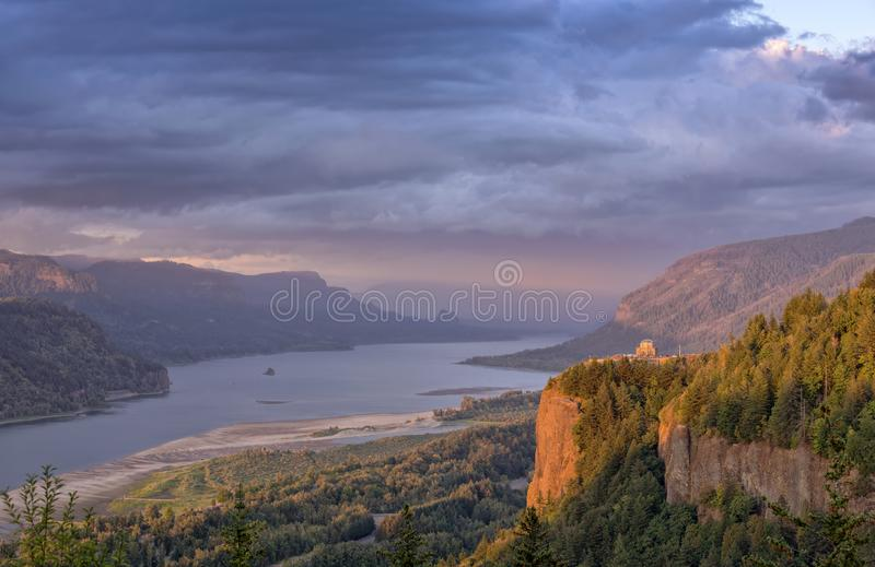 Columbia River Gorge cluds and sunset. royalty free stock images