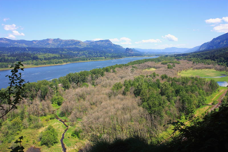 Oregon, Pacific Northwest, United States - Spring at Columbia River Gorge near Portland. Oregon, Pacific Northwest, United States - From the hiking trail past royalty free stock images