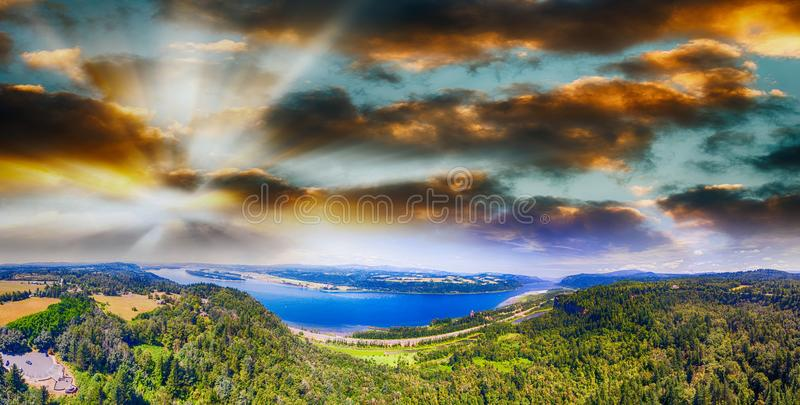 Columbia River Gorge in Oregon, panoramic aerial view royalty free stock image