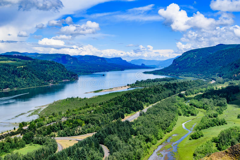Columbia River Gorge. The Columbia River Gorge in Oregon from the Vista House on Crown Point stock photos