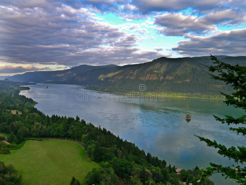 Columbia River in the gorge on the Washington side. Columbia River in the world famous Columbia Gorge from the Washington side royalty free stock photography