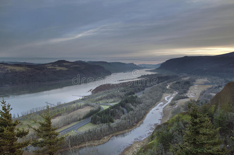 Columbia River And Highway 84 At Sunrise Royalty Free Stock Photos