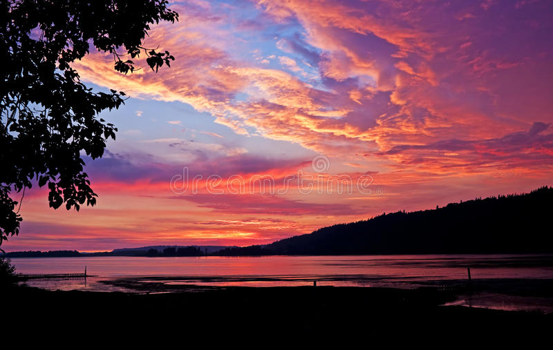 Columbia River sunset. Sunset with silhouettes over the Columbia River Gorge seen from Rooster Rock State Park, Oregon royalty free stock image