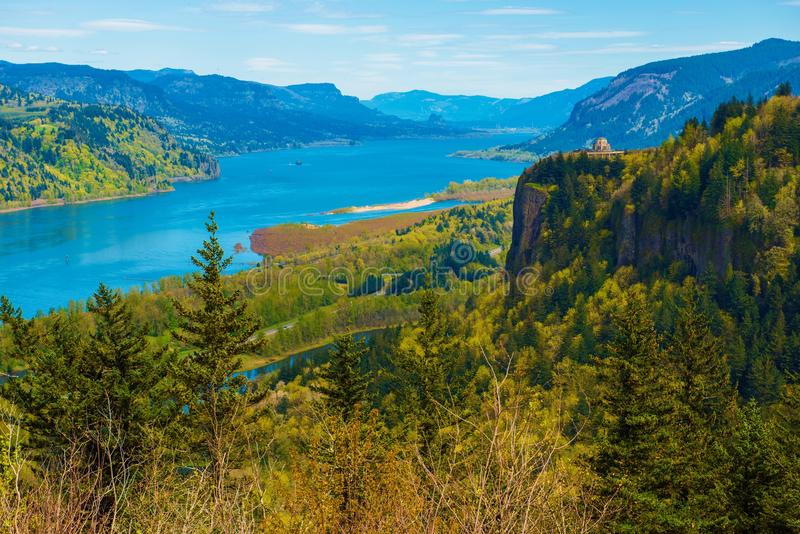 Columbia River Vista House. Columbia River Gorge and the Famous Crown Point Vista House near Portland, Oregon, United States. Columbia River Scenery stock photo