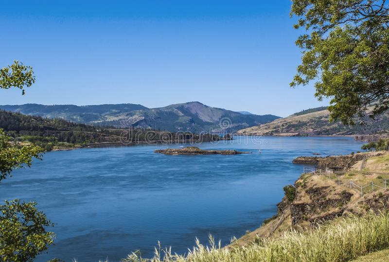 Columbia river. A wide view from Washington bank at Columbia river and Oregon bank stock photo