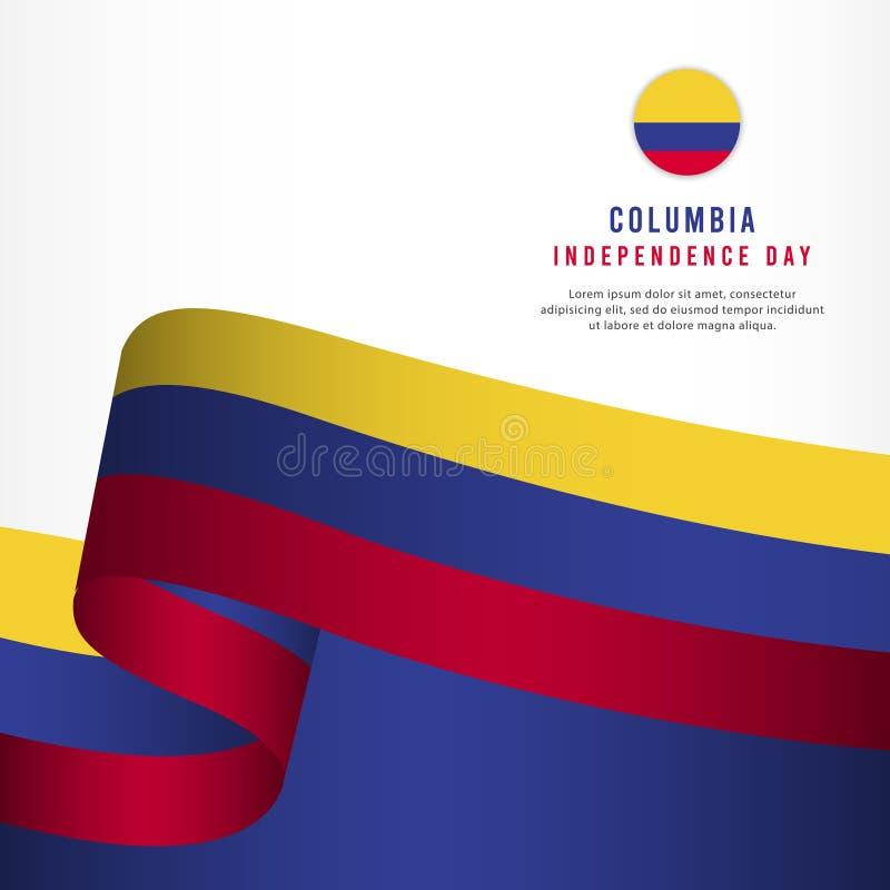 Columbia självständighetsdagenberöm, illustration för mall för vektor för fastställd design för baner royaltyfri illustrationer