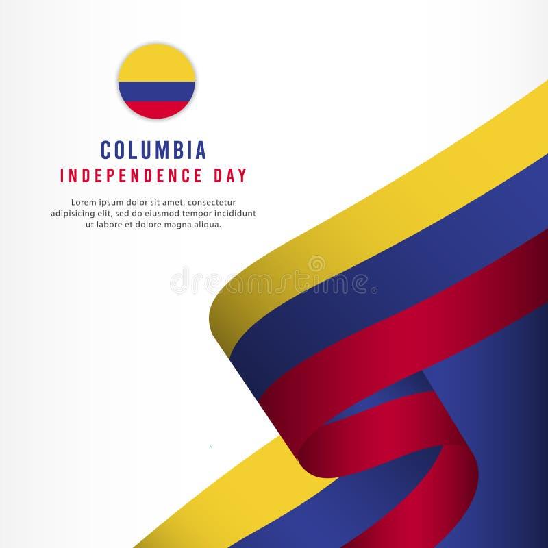 Columbia självständighetsdagenberöm, illustration för mall för vektor för fastställd design för baner vektor illustrationer