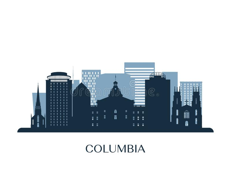 Columbia skyline, monochrome silhouette. Vector illustration royalty free illustration