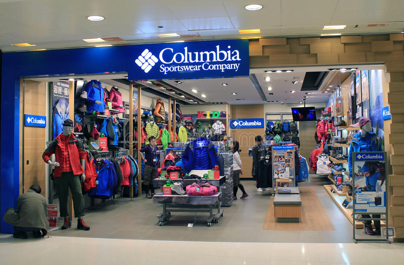 Columbia Sportswear Företag i Hong Kong arkivbild