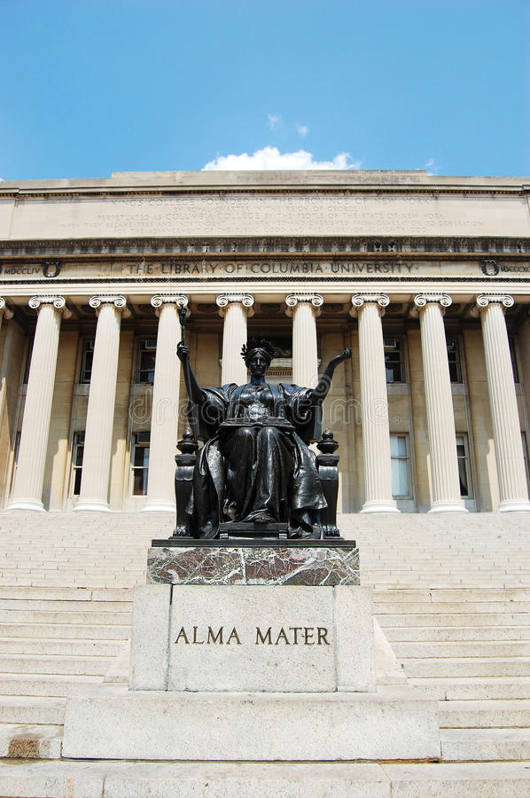 Columbia University Library and Alma Mater statue. Columbia University Library and statue of Alma Mater, Manhattan, New York City, USA stock photography