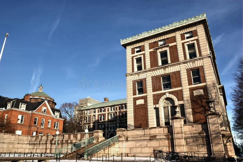 Columbia University Morningside campus. View of Kent hall, Philosophy hall and Buell hall at Morningside campus of Columbia University royalty free stock photo