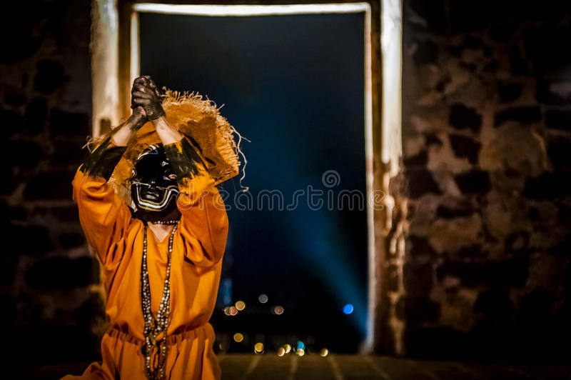 Columbian Girl Dancing In Mask stock images