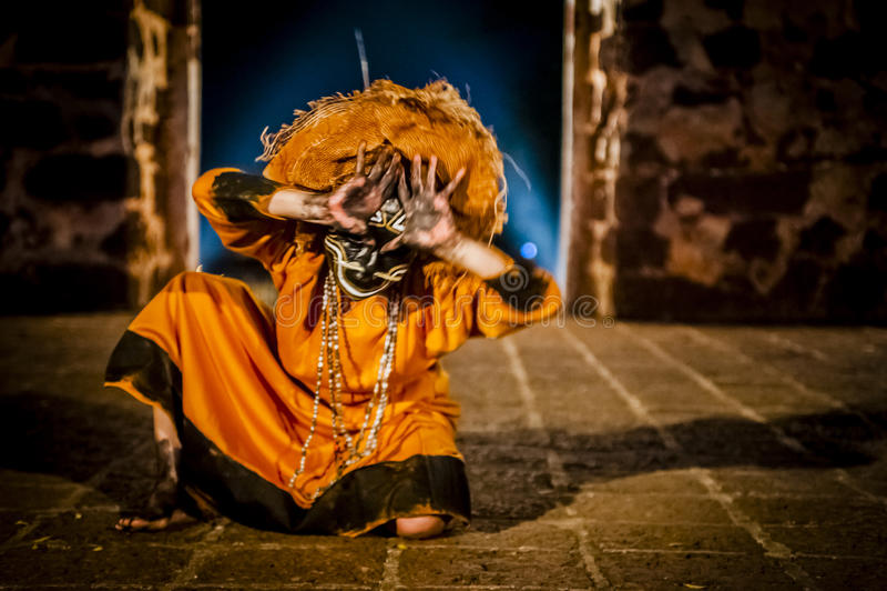Columbian Girl Dancing In Mask stock photography