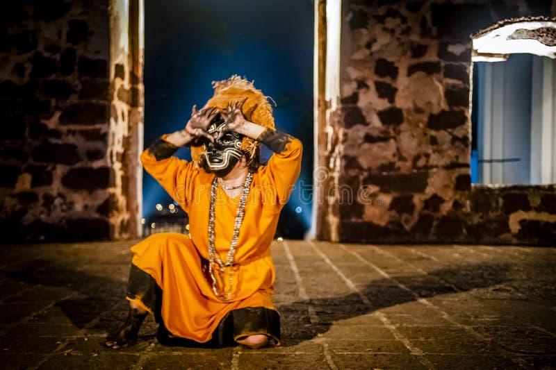 Columbian Girl Dancing In Mask stock photos