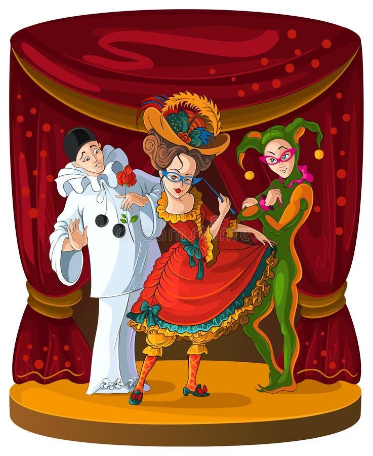 Columbine, harlequin et Pierrot illustration stock