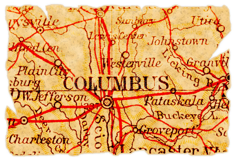 Columbus-alte Karte lizenzfreie stockbilder