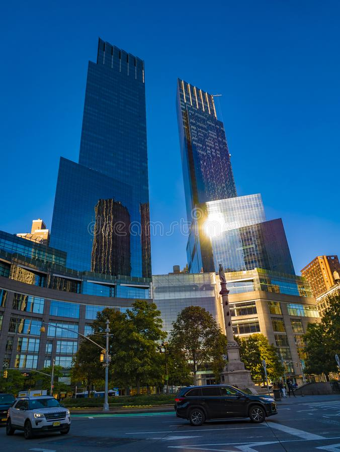 Columbus Circle, Manhattan, New York, United States of America. Sunset evening stock image
