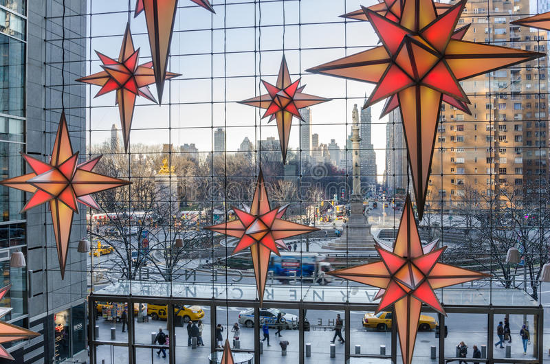 Columbus Circle from Time Warner Center with Christmas Decorations in foreground stock photo