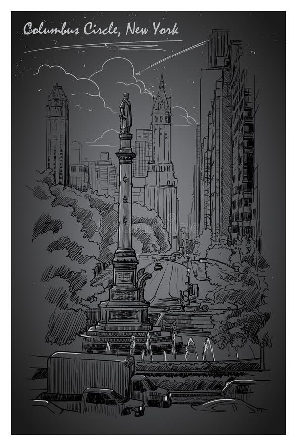 Columbus Circle uteliv royaltyfri illustrationer