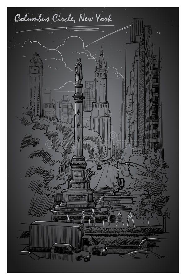 Columbus Circle, vita notturna royalty illustrazione gratis