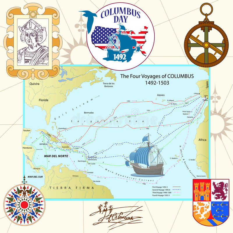 Columbus Day vektor illustrationer