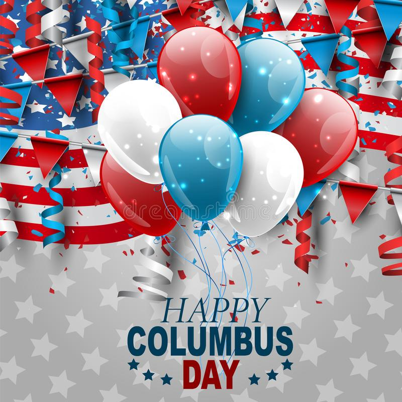 Free Columbus Day Design With USA National Flag, Falling Confetti, And Ringlets. Stock Image - 158050951