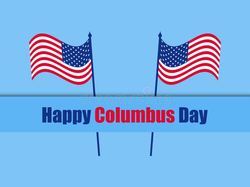 Columbus Day, the discoverer of America, usa flag and continent, holiday banner. Vector. Illustration stock illustration