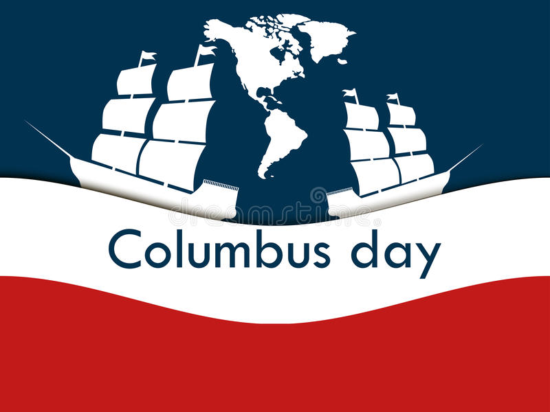 Columbus Day, the discoverer of America, in the wake of the ship. Vector illustration royalty free illustration