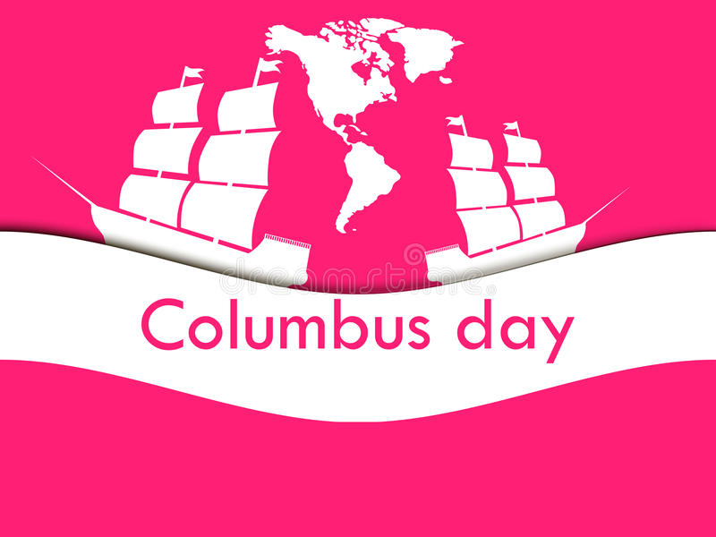 Columbus Day, the discoverer of America, in the wake of the ship. Vector illustration vector illustration