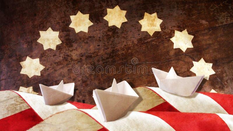 Columbus Day Drei Papier Caravels stockbilder