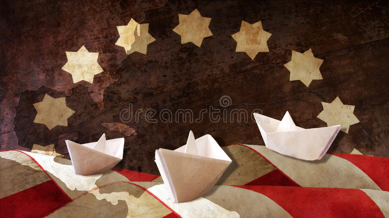 Columbus Day Drei Papier Caravels-Flaggen-Wellen lizenzfreie stockbilder