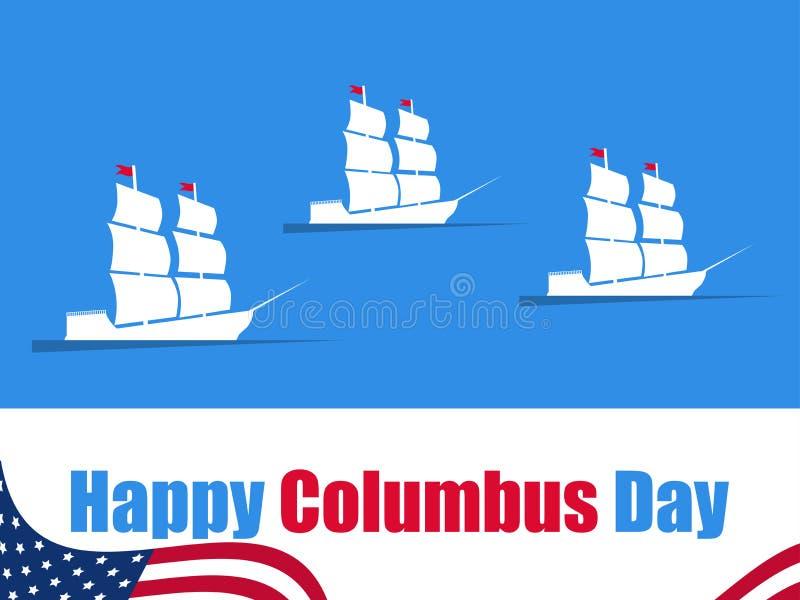 Columbus Day felice, lo scopritore dell'America, onde e nave, insegna di festa Nave di navigazione con gli alberi Vettore royalty illustrazione gratis