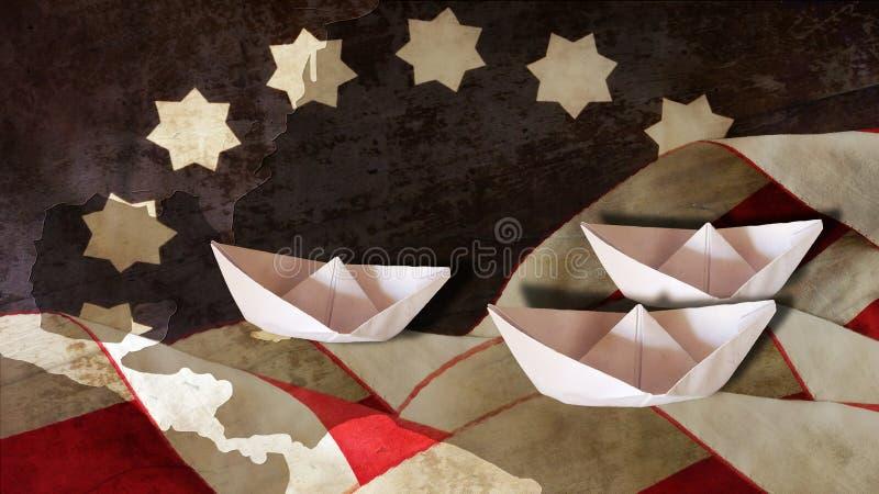 Columbus Day Flagge bewegt Diagramm und Boote wellenartig stockbild