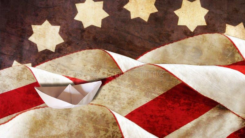 Columbus Day Flagge und Wellen lizenzfreies stockbild