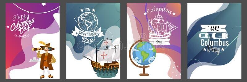 Columbus Day ha messo con progettazione di logo del testo dell'iscrizione della cartolina d'auguri di simboli della bussola del t royalty illustrazione gratis