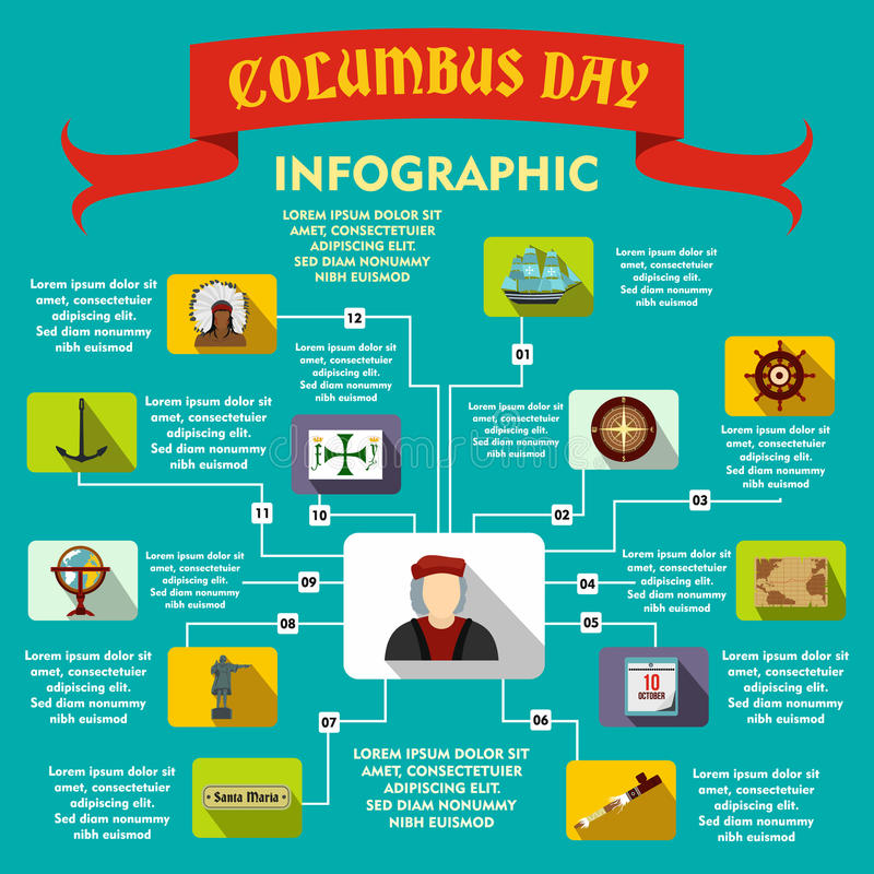 Columbus Day infographic, style plat illustration libre de droits