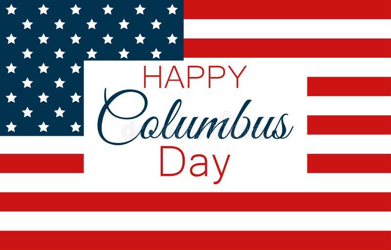 Columbus Day, le découvreur de l'Amérique, drapeau des Etats-Unis et continent, bannière de vacances Vecteur illustration libre de droits