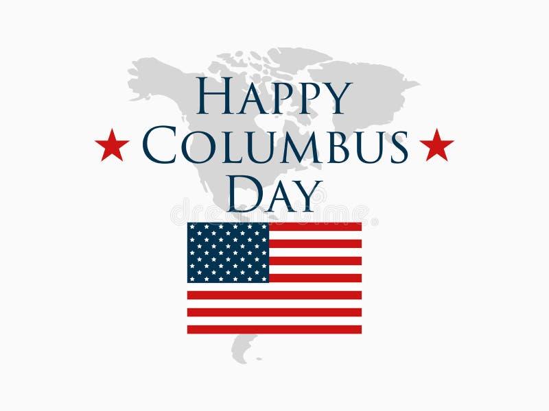 Columbus Day, le découvreur de l'Amérique, drapeau des Etats-Unis et continent, bannière de vacances Vecteur illustration de vecteur