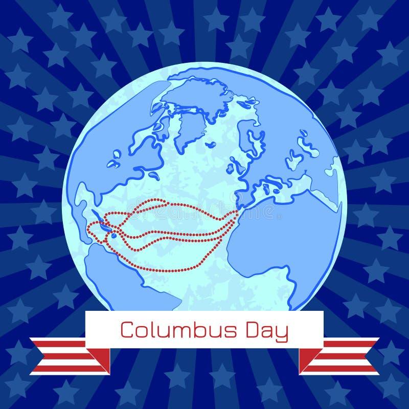 Columbus Day nos EUA Globo antigo, rotas da viagem de Columbo ilustração do vetor