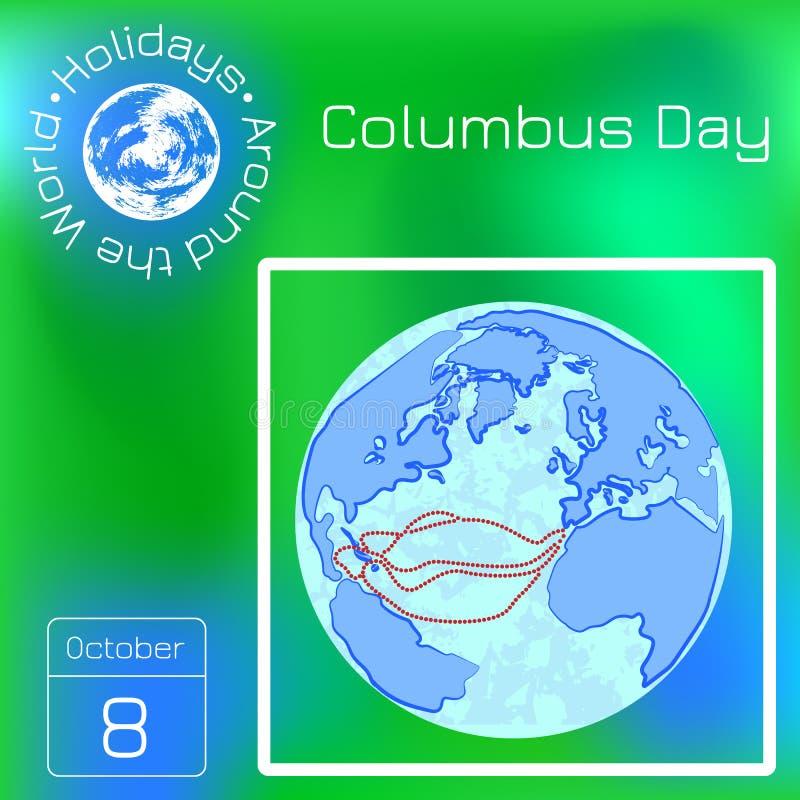Columbus Day nos EUA Globo antigo, rotas da viagem de Columbo Calendário da série Feriados em todo o mundo Evento de cada dia de  ilustração royalty free