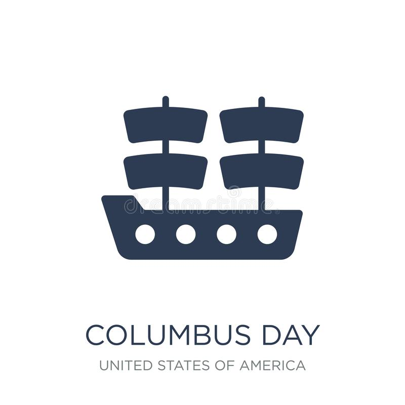 Columbus Day-pictogram In vlak vectorcolumbus day-pictogram op wit stock illustratie