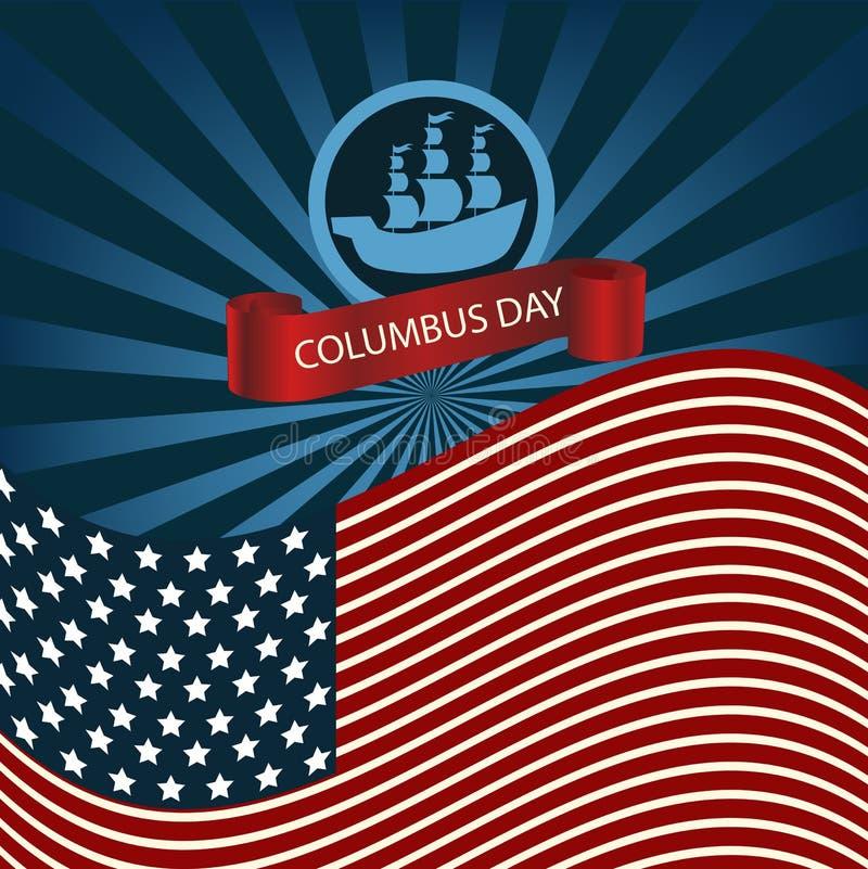 Columbus Day Ship Holiday Poster heureux Etats-Unis Amérique Fla illustration libre de droits