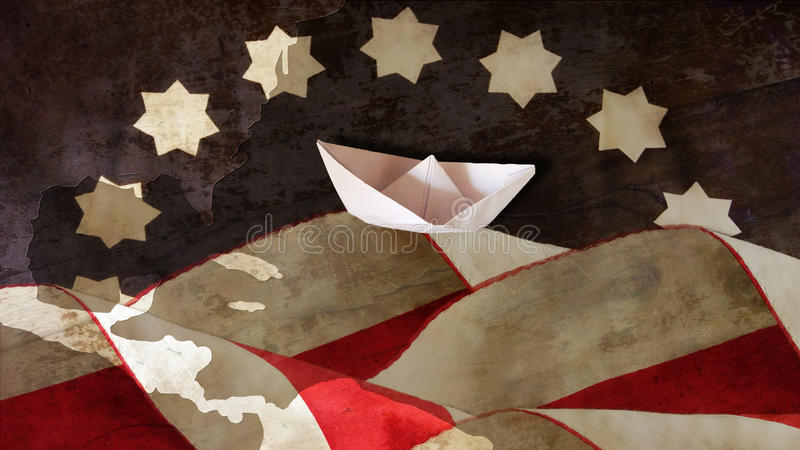 Columbus Day US-Flaggen-Wellen lizenzfreie stockfotos