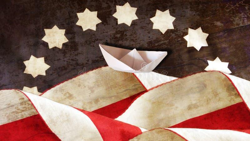 Columbus Day US-Flaggen-Wellen und Boot stockfotos