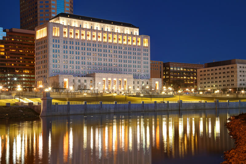 Columbus del centro, Ohio all'alba fotografia stock libera da diritti
